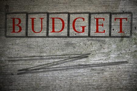 balanced budget: budget writen on a wall background Stock Photo