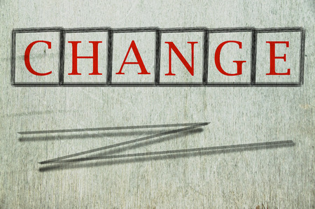 revise: change written on a wall background