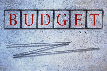 balanced budget: budget written on a wall background