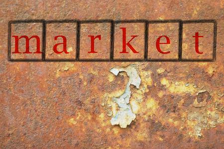 penetracion: mercado escrito en una pared de fondo