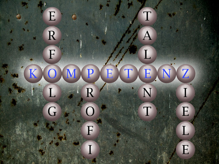 Hintergrund: Kompetenz word cloud geschrieben auf Bällen for einer Wand