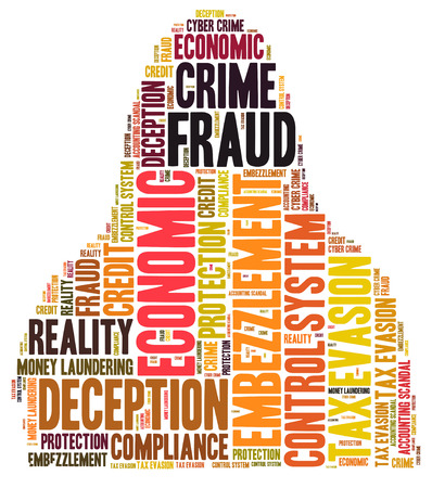 control fraud: Fraud word cloud shaped as a person Stock Photo