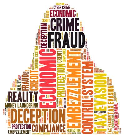 Fraude woordwolk gevormd als persoon Stockfoto