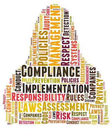 assessment system: Compliance word cloud shaped as a body