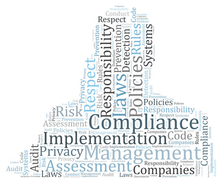 assessment system: Compliance word cloud shaped as a human body