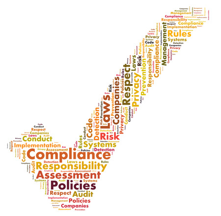 responsibilities: Compliance word cloud Stock Photo