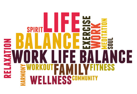 work life balance: work life balance wordcloud Stock Photo