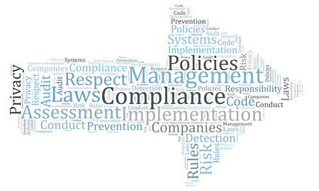 assessment system: Compliance word cloud shaped as a arrow