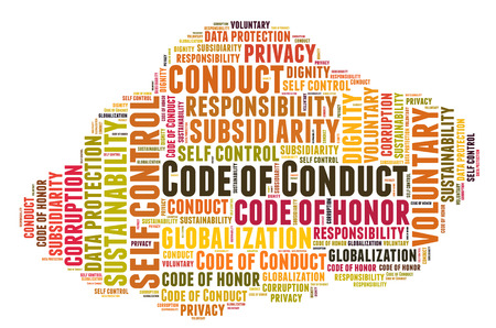 selfcontrol: Code of conduct word cloud Stock Photo