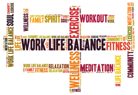 work life balance: work life balance wordcloud Stock Photo