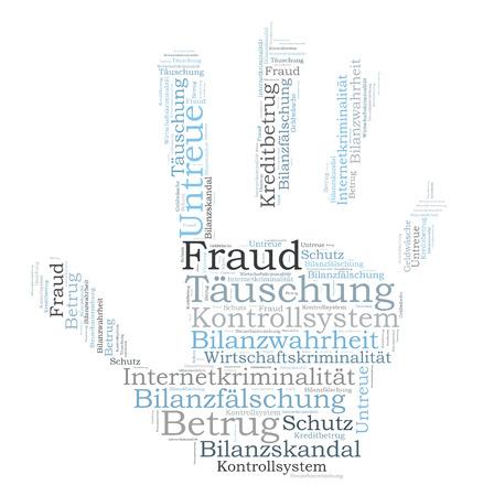 Fraude wordcloud Stockfoto