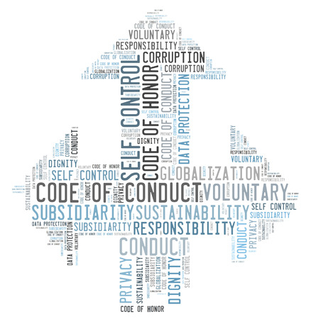 conduct: Code of conduct word cloud Stock Photo