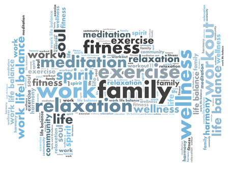 work life balance: family work wordcloud Stock Photo