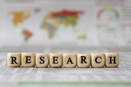 internationally: Research word built with letter cubes