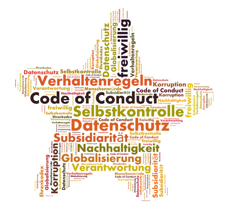 conduct: Code of Conduct word cloud shaped as a star