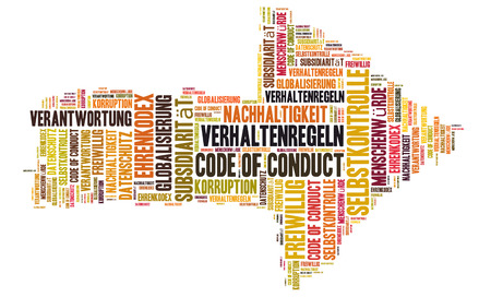 conduct: Code of Conduct word cloud shaped as a arrow