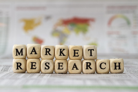 internationally: Market Research word built with letter cubes