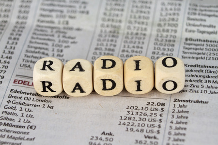 globally: Radio word built with letter cubes Stock Photo