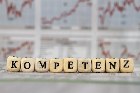 Competence written with cubes with letters Stock Photo