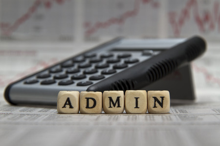 admin word built with letter cubes