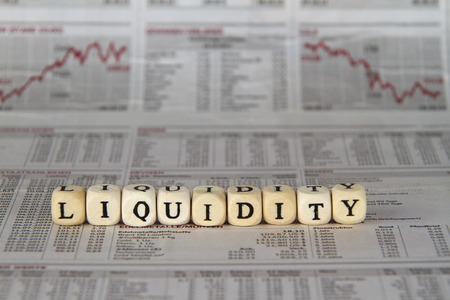 Liquidity word built with letter cubes