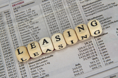 Leasing word built with letter cubes
