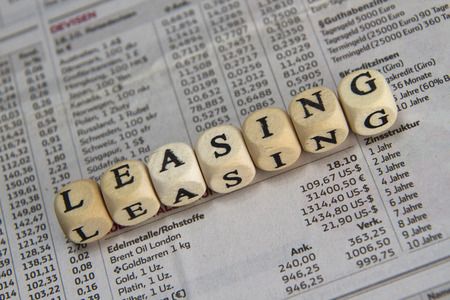 leasing: Leasing word built with letter cubes