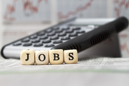 Jobs word built with letter cubes Stock Photo