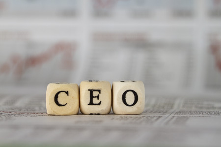 CEO word built with letter cubes