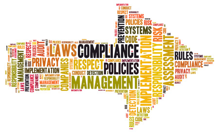 assessment system: Compliance word cloud shaped as a arrow to the right