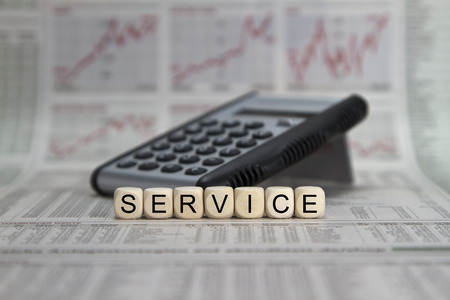 power delivery: Service word built with letter cubes Stock Photo