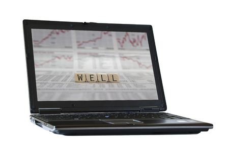 studied: well on the screen of a isolated laptop Stock Photo