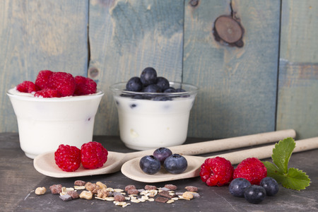 fruit yogurt with, blueberry, raspberry and muesli