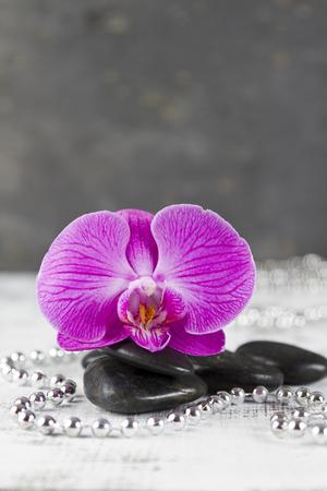 esoterismo: concepto de bienestar con piedras calientes y rosa orqu�dea