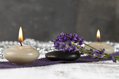 hot stones: Wellness therapy with lavender and hot stones