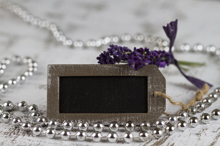 esot�risme: wellbeing and feel good concept with empty sign and lavender