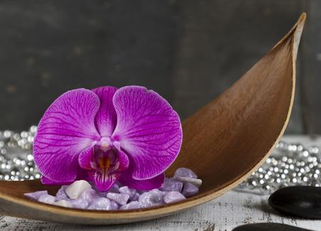 esoterismo: concepto de conciliación de la vida con la orquídea y piedras calientes Foto de archivo