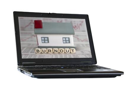 psique: palabra burnout construido con cubos de la carta Foto de archivo