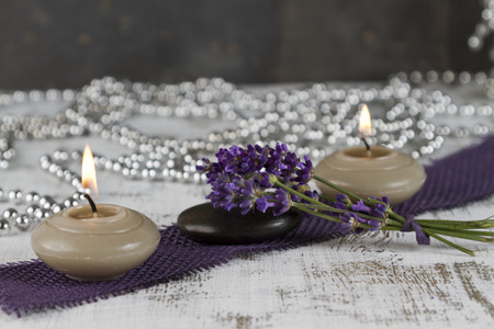 esotericism: wellness therapy with lavenderand hot stone Stock Photo