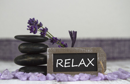 hot stones: relax with hot stones and lavender Stock Photo