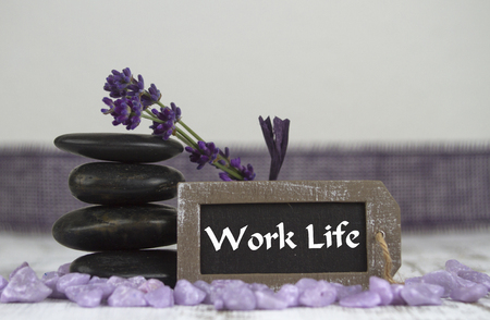 hot stones: work life with hot stones and lavender Stock Photo