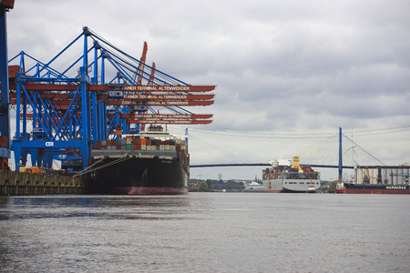 cargo vessel: Hamburg, Germany - May 14, 2015: cargo vessel NYK VENUS at Container Terminal Altenwerder
