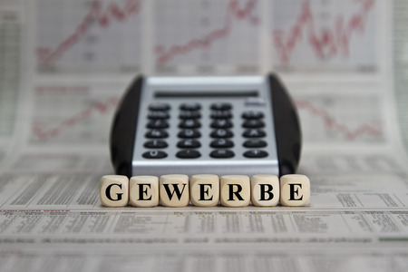 merchandise mart: Trade word built with letter cubes Stock Photo