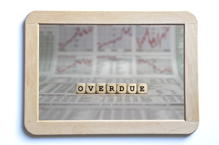 accounts payable: overdue word builr with letter cubes Stock Photo