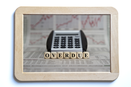 payable: overdue word builr with letter cubes Stock Photo