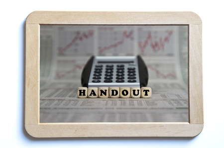 handout: handout word built with letter cubes
