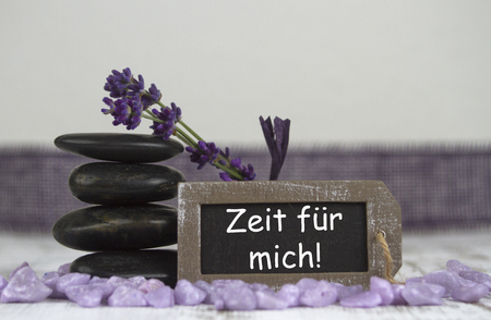 esotericism: time for me with hot stones and lavender Stock Photo