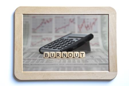 burnout: burnout word built with letter cubes Stock Photo