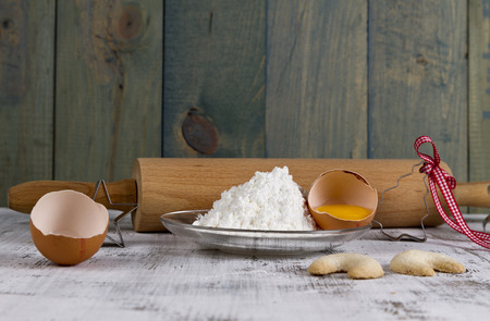 rolling pin: rolling pin with eggs Stock Photo