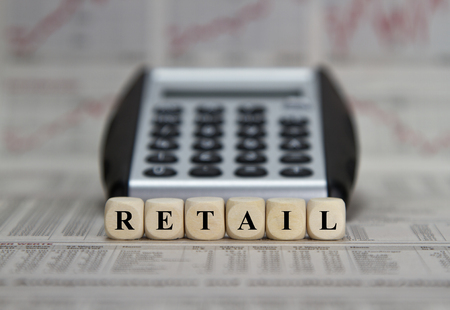 e market: Retail word on a newspaper background Stock Photo
